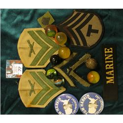 Group of (5) Super Balls; (2) Tom Harkin Pin-backs; Miniature Cloth Military Patch; (3) Military Sho