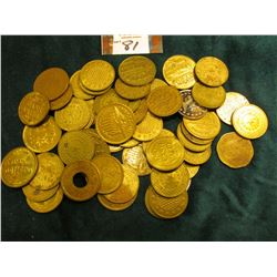 (52) Brass Gaming Tokens. According to 'Doc's' note there maybe as many as 40 different varieties in