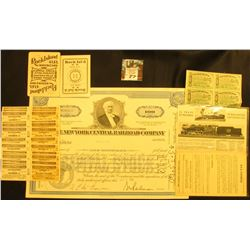 """The New York Central Railroad Company"" Stock Certificate for 100 Shares, 1967; Pair of 1903 era Roc"