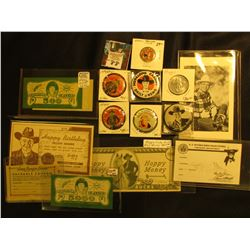 Large Group of Hop-a-long Cassidy, Lone Ranger, & Davy Crocket Memorabilia. Includes Scrip, Post Car