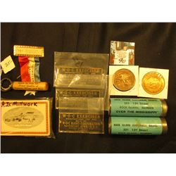 "(2) Bridge Token Tubes for ""Rock Island Centennial Bridge…Over the Mississippi""; 1986 Badge with Rib"