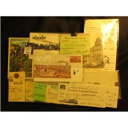Large Group of Railroad Memorabilia in a glass case, Post cards, stubs, checks, & etc. Glass in case