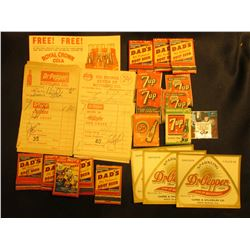 Group of Soda Pop Memorabilia including Match Books, Invoices, Labels, & etc.