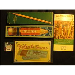 "Original ""Velvet Pencils"" Advertising Card & empty Pencil box; & ""Ticonderoga…Pencil"" Advertising ca"
