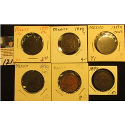 Mexico One Centavo Collection: 1880mo, 1887/7mo, 1889mo, 1890mo, 1894mo, & 1897mo. Grades up to VF+.