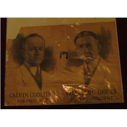 "17"" x 23.5"" Poster ""Calvin Coolidge for President Charles G. Dawes for Vice-President"" Upper left co"