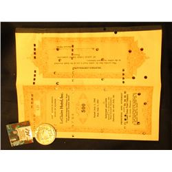 "Hole cancelled with coupons 1941 ""State of Illinois LeClaire Hotel, Inc. First Mortgage Fifteen Year"