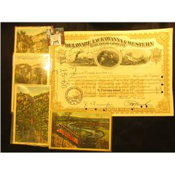 """The Delaware, Lackawanna & Western Railroad Company"" 100 Share Stock Certificate; & (4) different I"