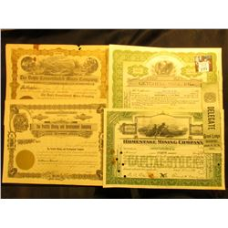 "(4) Different Mining Stock Certificates 1909-46 era; & 1901 Delegate Ribbon ""Grand Lodge Davenport…"""