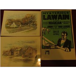 "14"" x 22"" Poster ""Mysterious Lawain in Person America's Foremost Magician and Mystifying Wonders…"";"