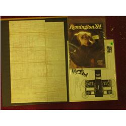 "1984 Remington Arms Sporting Firearms & Ammunition catalog; unassembled ""Watkins Wagon Bank""; & 1871"