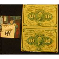 Un-cut Pair of 10c Postage Currency, Series 1863. Nice condition.