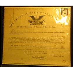 13.25  x 15.75   The United States Volunteer Service The President's Thanks and Certificate of Honor