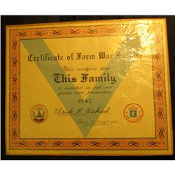 11  x 13.5   Certificate of Farm War Service This Certifies that This Family is enlisted in all-out