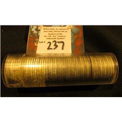 1952 P Original BU Roll of Roosevelt Silver Dimes in a plastic tube.