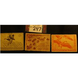 1940 RW7 damaged, 1941 Signed, RW8, 1944 Mint, partial Gum Migratory Bird Hunting Stamps.