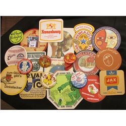 Collection of (15) Different Liquor Beverage Coasters dating back over fifty years & (6) Pin-Backs 1