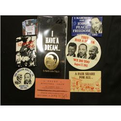 "Group of Black Americana Memorabilia, which includes Black ribbon with gold lettering ""I Have A Drea"