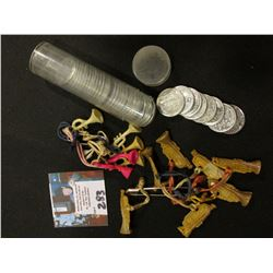 A Group of Toy Plastic Horns on Strings (for necklaces???); & a partial roll of circulated, but high