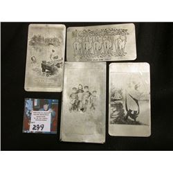 Risque aluminum case with (3) different risque cartoon cards.