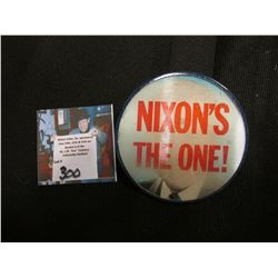 """Nixon's the One"" 2 5/8"" Political Double Image or Flasher Pin-back."