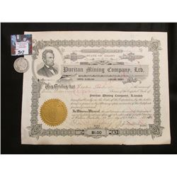 "1910 Stock Certificate ""Puritan Mining Company, Ltd."" State of Idaho; & 1910 San Francisco Mint Barb"
