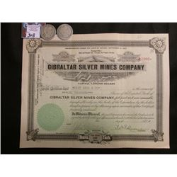 "1919 Stock Certificate ""Gibraltar Silver Mines Company"" Nye County Nevada; & 1908 P & D Barber Half-"