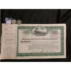 "1933 Stock Certificate ""Oklahoma City Junction Railway Company"" & 1908 P & D Barber Half-Dollars, Go"