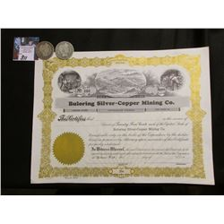 "Unissued Stock Certificate ""Buloring Silver-Copper Mining Co."" & 1908 P & D Barber Half-Dollars, Goo"
