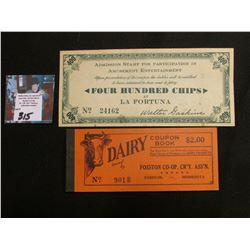 "Unused Mint condition ""Dairy Coupon Book… Fosston Co-op. CR'Y Ass'n Fosston, Minnesota""; & 1935 San"
