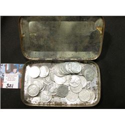 """Pride of Virginia Sliced Plug"" Metal Tin  with a group of old World War II U.S. Steel Cents."