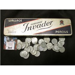 """Wallace Silver Brand Invader Lockbound Pencils"" Tin (no pencils) filled with a group of old World W"