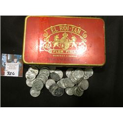"""El Roi-Tan Flor Fina Perfect Cigars Belvedere"" Tin with a group of old World War II U.S. Steel Cent"