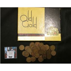 """Old Gold America's Double-Mellow Cigarette"" Box with (50) 1947 S Lincoln Wheat Cents."