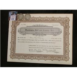 """1958 Stock Certificate """"Washington Golf and Country Club"""" & 1906 Denver & New Orleans Mint U.S. Silv"""