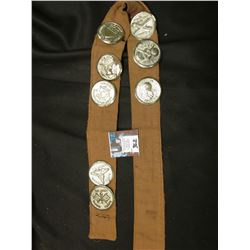 Cloth Strip with (8) large Military related Pin-backs, all Silvered.