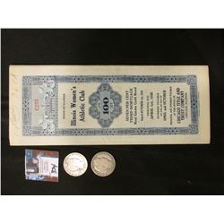 "1936 State of Illinois Gold Bond with Coupons ""Illinois Women's Athletic Club Chicago, Ill."" $100; 1"