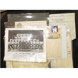 "Copy of Photo 1984 New York Islanders; & a large selection of ""Flour"" memorabilia (invoices, letter"