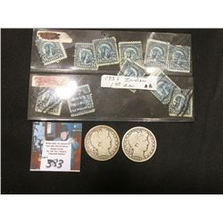 """Group of 1931 """"Indian Chief"""" .14c U.S. Postage Stamps. (11 pcs.); 1906 P & D U.S. Silver Barber Half"""