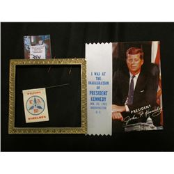 """President John F. Kennedy"" Postcard; White Ribbon with blue lettering ""I was at the Inauguration of"