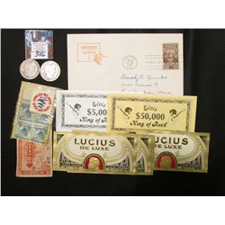 """1940 """"Wyoming Statehood 50th Anniversary"""" First Day of issue Stamped Cover; World War II Sticker """"Le"""