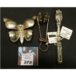 Sterling Silver handled Nail Clippers; Silver (plated??) Butterfly (unmarked); & a Sugar Candy Mold