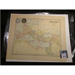 "10.5"" x 13"" Map ""Roman Empire in Its Greatest Extent"", ready for framing; & 1898 P & 99 P Barber Hal"