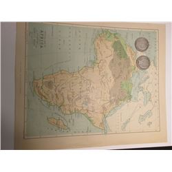 "10"" x 11 5/8"" Map ""Africa"", ready for framing; & 1898 P & 99 P Barber Half Dollars in G-AG."
