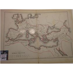 "10"" x 13"" Map ""The Provinces of the Roman Empire"", ready for framing; & 1898 P & 99 P Barber Half Do"