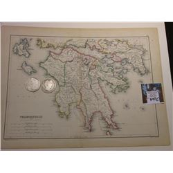 "10"" x 13"" Map ""Peloponnesus with Attica and Part of Boetia"", ready for framing; & 1898 P & 99 New Or"