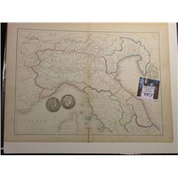 "10"" x 13"" Map ""Italia (Northern Part)"", ready for framing; & 1898 P & 99 P Mint Barber Half Dollars"