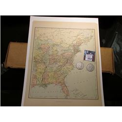 "10.5"" x 13"" Map ""Eastern Portion of the United States of America"", ready for framing; & 1897 P & 99"