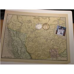 """8.5"" x 11"" Map ""North West Territories (Canada)"", ready for framing; & 1898 P & 99 Barber Half Doll"