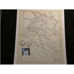 """9.25"" x 13.25"" Map ""Austria and The Adjacent Countries"", ready for framing; & 1899 P & 1900 P Barbe"